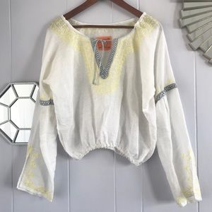 Free People Boho Chic White Blouse